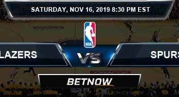 Portland Trail Blazers vs San Antonio Spurs 11-16-2019 NBA Odds and Picks