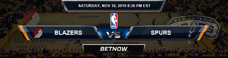 Portland Trail Blazers vs San Antonio Spurs 11-16-2019 NBA Odds and Picks