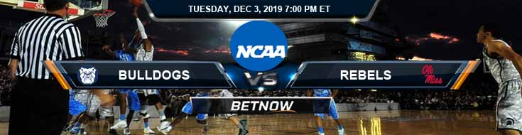 Butler Bulldogs vs Mississippi Rebels 12-03-2019 Odds Picks and Spread