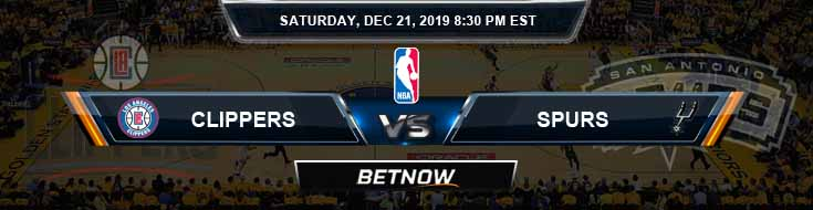 Los Angeles Clippers vs San Antonio Spurs 12-21-19 NBA Picks and Previews