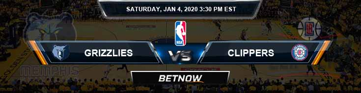 Memphis Grizzlies vs Los Angeles Clippers 1-4-2020 Spread Odds and Picks