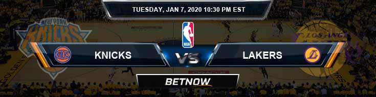 New York Knicks vs Los Angeles Lakers 01-07-2020 Spread Odds and Picks